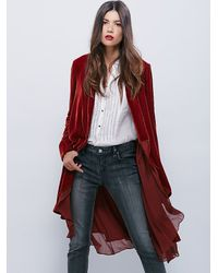 Free People | Red Swingy Velvet Jacket | Lyst