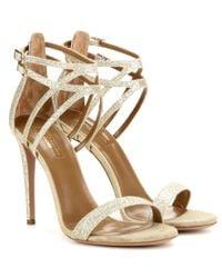Aquazzura Metallic Lucille 105 Glitter Sandals