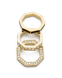 Marc By Marc Jacobs Metallic Octagon Stacking Rings - Black
