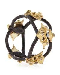 Armenta - Metallic White  Black Diamond Maltese Cross Open Ring - Lyst
