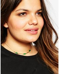 Asos Curve | Green Bar & Nugget Station Choker Necklace | Lyst