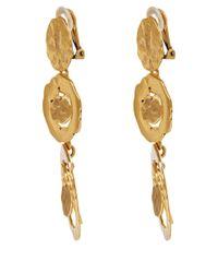 Oscar de la Renta Metallic Gold-Tone Circle Drop Clip-On Earrings