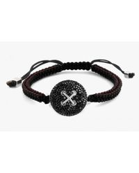 Tateossian | Button Micro Pavé Macramé Bracelet With Black Diamonds for Men | Lyst