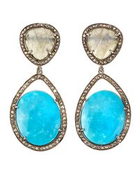 Bavna - Blue Turquoise Labradorite Champagne Diamond Double Drop Earrings - Lyst
