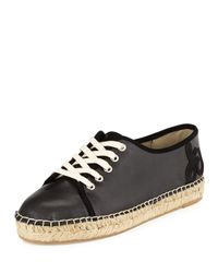 Sam Edelman | Black Lillian Leather Espadrille Sneaker | Lyst