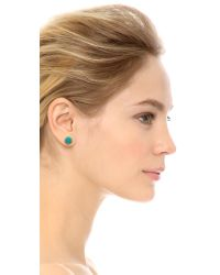 Rebecca Minkoff Blue Mix Matched Oval Earrings - Gold/Turquoise