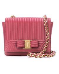 Ferragamo - Pink Ginny Textured Cross-Body Bag - Lyst