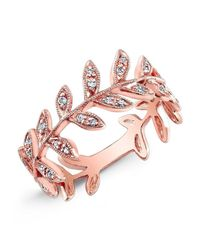 Anne Sisteron - Pink 14kt Rose Gold Diamond Wreath Ring - Lyst