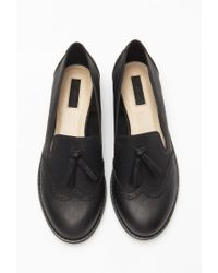Forever 21 | Black Faux Leather Tasseled Loafers | Lyst