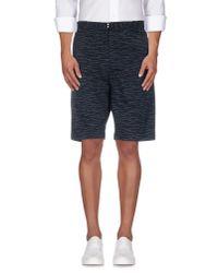 Folk Blue Matchstick-Print Cotton Shorts for men