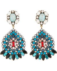 DANNIJO - Blue Crystal and Turquoise Siobhan Earrings - Lyst