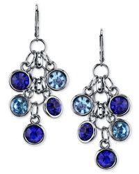 2028 | Blue Silver-Tone Glass Stone Cluster Drop Earrings | Lyst