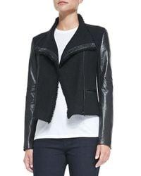 Vince - Black Leather-sleeve Boucle Scuba Jacket - Lyst