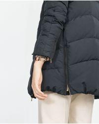 Zara | Blue Quilted Anorak | Lyst