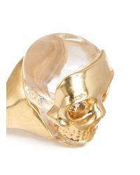 Alexander McQueen Metallic Mask Skull Ring