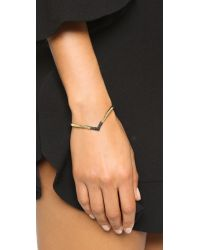 House of Harlow 1960 - Metallic Defined Deco Angled Cuff Bracelet - Gold/hematite - Lyst