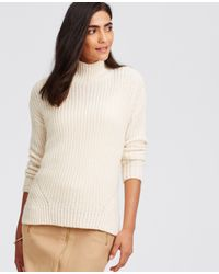 Ann Taylor | Natural Stitchy Mock Neck Sweater | Lyst