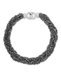 ABS By Allen Schwartz | Gray Hematite-Tone Braid Chain Necklace | Lyst