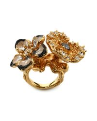 Alexander McQueen | Metallic Cherry Blossom Two Flowers Ring | Lyst