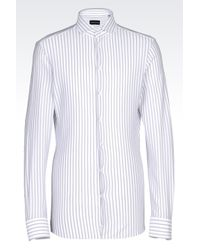Emporio Armani | White Shirt In Striped Cotton Pique for Men | Lyst