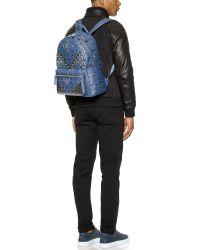 MCM Blue M Studded Stark Backpack for men
