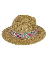 Accessorize Natural Crochet Packable Mirror Trim Trilby Hat