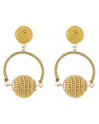 Accessorize - Metallic Thread Wrapped Ball Short Drop Earrings - Lyst