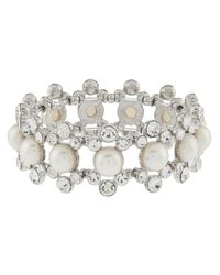 Accessorize - Metallic Bethany Pearl Stretch Bracelet - Lyst