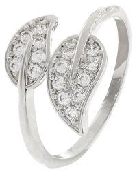 Accessorize Metallic Platinum Leaf Bling Ring