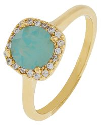 Accessorize Green Halo Ring With Swarovski® Crystals