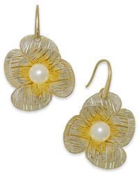 Macy's | Metallic Cultured Freshwater Pearl Flower Earrings In 18k Gold Over Sterling Silver (7mm) | Lyst