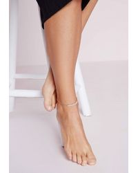 Missguided | Metallic Pearl Detail Double Chain Anklet Gold | Lyst