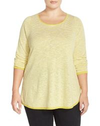 Eileen Fisher | Yellow Stripe Linen and Cotton-Blend Top | Lyst