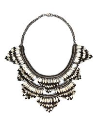 Deepa Gurnani - Metallic Crystal Feather And Leather Statement Necklace - Lyst