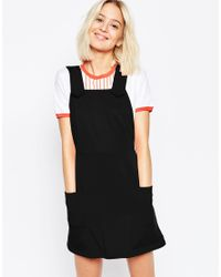 ASOS | Black Ponte Pinafore Dress With Stitch Detail | Lyst