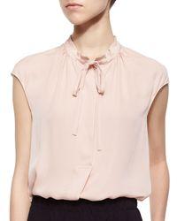 Vince Pink Silk Cap-sleeve Tie-neck Blouse