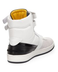Fendi - White Suede and Leather Hightop Sneaker for Men - Lyst