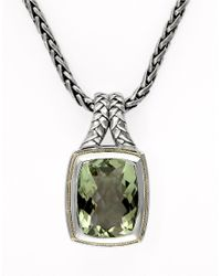 Lord & Taylor | Balissima Sterling Silver Necklace With 18k Yellow Gold And Green Amethyst Pendant | Lyst