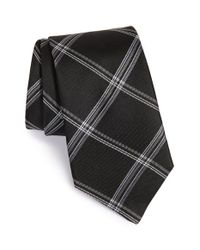 John Varvatos Black Check Silk Tie for men