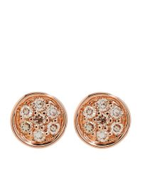 Sydney Evan | Metallic Rose Gold Pavã© Diamond Stud Earrings | Lyst