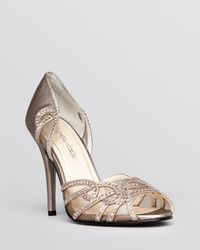 Caparros Metallic Open Toe D'Orsay Evening Sandals - High Heel