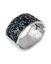 Kenneth Cole - Metallic New York Silvertone Faceted Blue and Black Bead Hinged Bangle Bracelet - Lyst