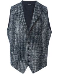 Tagliatore | Blue Houndstooth Waistcoat for Men | Lyst