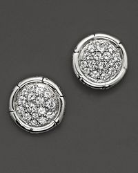 John Hardy | Metallic Bamboo Sterling Silver Petite Round Stud Earrings With White Topaz | Lyst