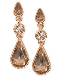Givenchy - Pink Rose-gold Triple Rear Drop Earrings - Lyst