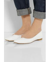 Pedro Garcia - White Patent leather Point toe Flats - Lyst