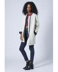 TOPSHOP White Faux Shearling Ovoid Jacket