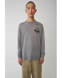 Acne Gray Planet Sweater grey Melange for men