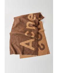 Acne Toronty Logo Brown Logo Scarf