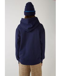 Acne Fellis Indigo Blue Hooded Sweatshirt for men